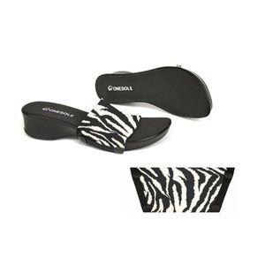 Onesole Leisure Zebra Wedges Slides Sandals 6